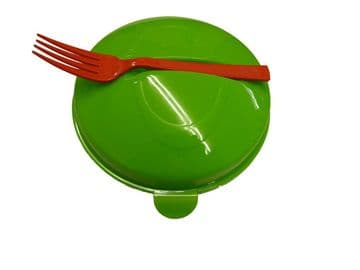 TRAVEL PORTABLE SALAD BOWL with built in DRESSING HOLDER + FORK picnic lunch